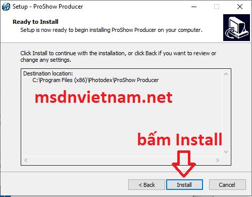 Bấm Install