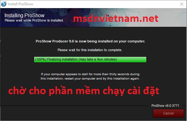 Chờ cho phần mềm chạy cài đặt