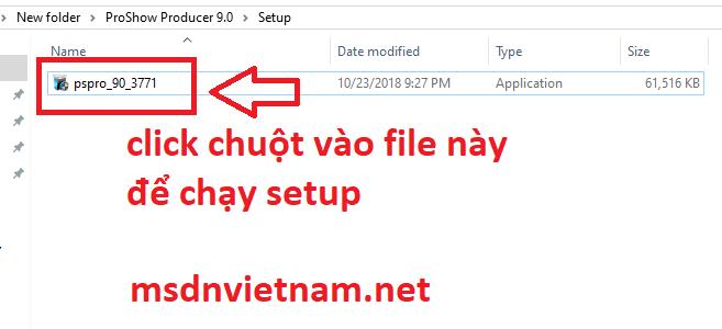 Click chuột vào file setup để tiến hành cài đặt
