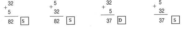 Đặt tính rồi tính tổng của hai số hạng là 5 và 32