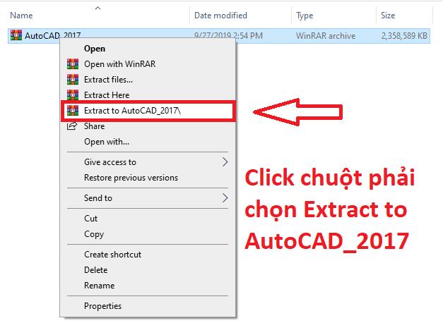 giải nén file AutoCAD 2017