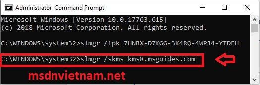 """nhập lệnh """"slmgr /skms kms8.msguides.com"""""""