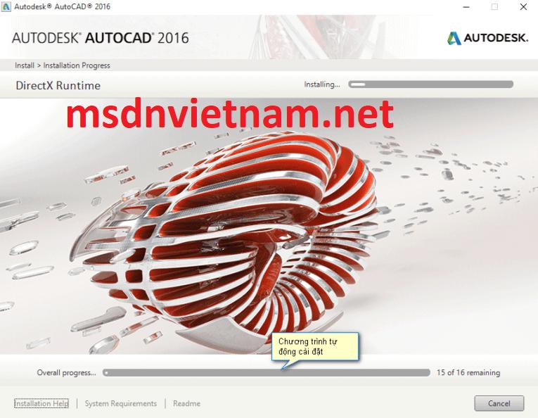 Chờ cho AutoCAD 2016 cài đặt