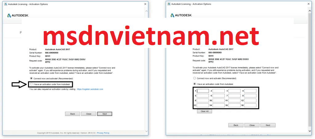 chọn I have an activation code from Autodesk