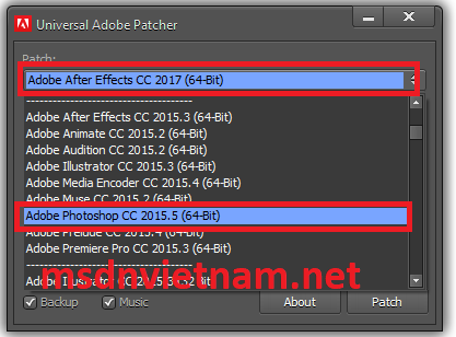 Chọn adobe photoshop cc 2015.5 64bit
