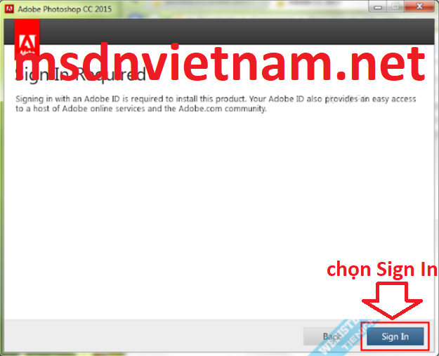 Chọn Sign In
