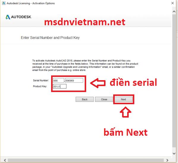 Điền serial number và product key