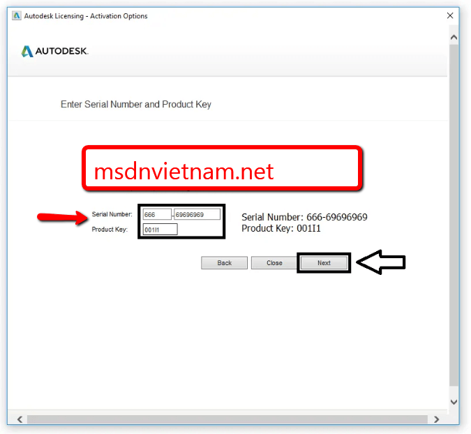 Điền serial number và product key sau đó bấm NEXT