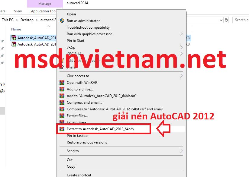 Giải nén file AutoCAD 2012