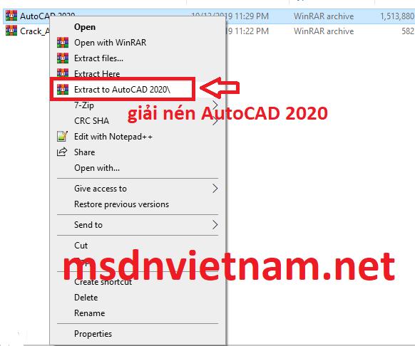 giải nén AutoCAD 2020