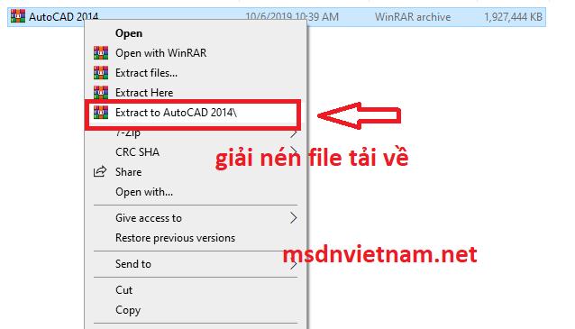 giải nén file AutoCAD 2014