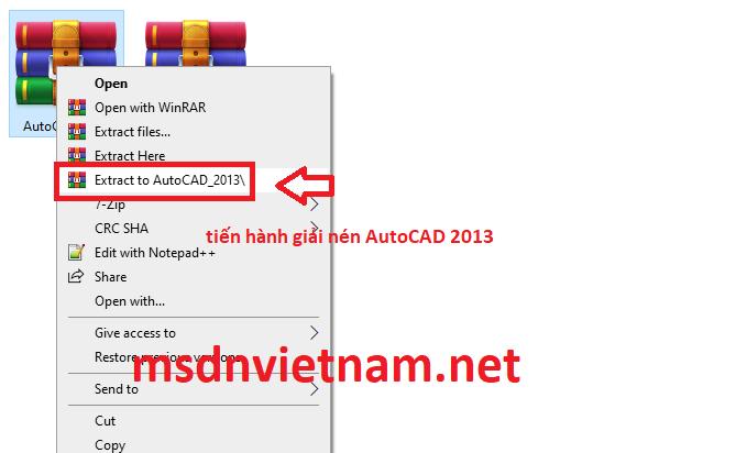Giải nén phần mềm AutoCAD 2013