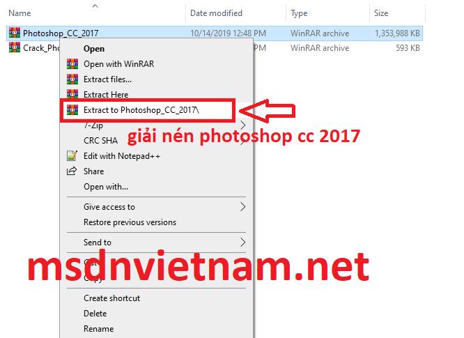 Giải nén Photoshop CC 2017