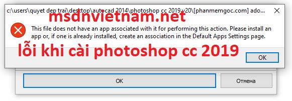 Thông báo lỗi khi cài Photoshop cc 2019