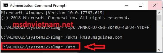 """Nhập lệnh """"slmgr /ato"""" vào CMD"""