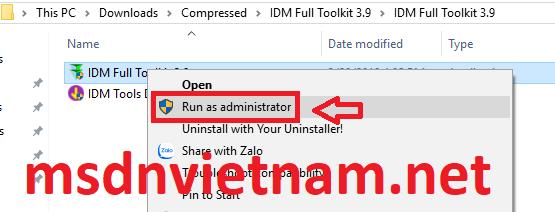 Chạy IDM Toolkit với quyền admin