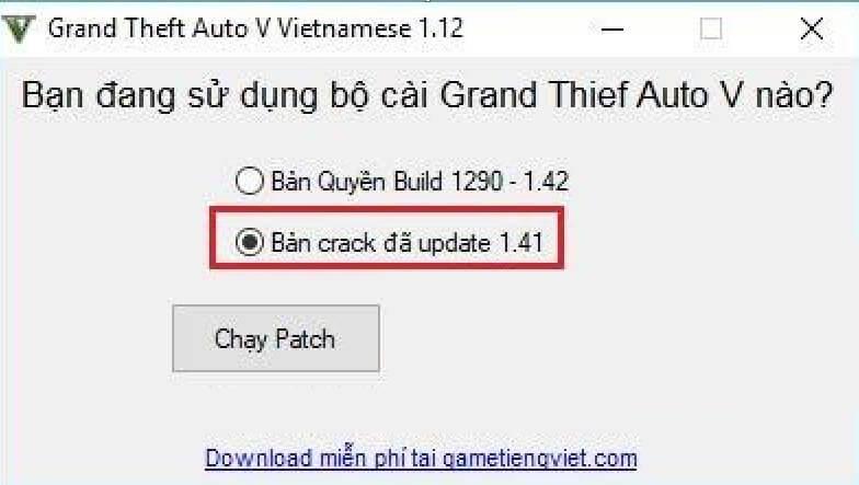 Thực hiện bước chạy File Việt Hóa Grand Theft Auto V